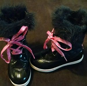 Girls 12 Justice Pink/Black Boots