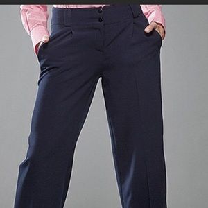 Pants - Nife wide leg trouser pants, navy blue