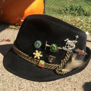 Other - Vintage Canadian ski pins on derby hat