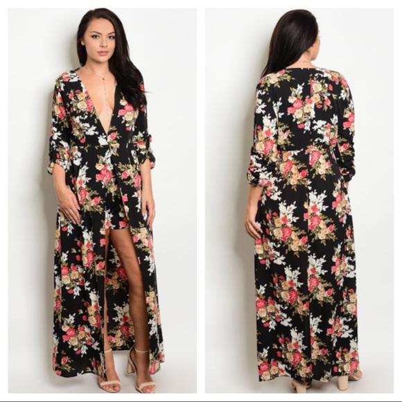 1e3050e8760 Dresses   Skirts - Women s Plus Size Floral Romper Jumpsuit ...