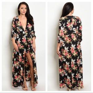Women's 1X 2X 3X Plus Floral Romper Dress Jumpsuit