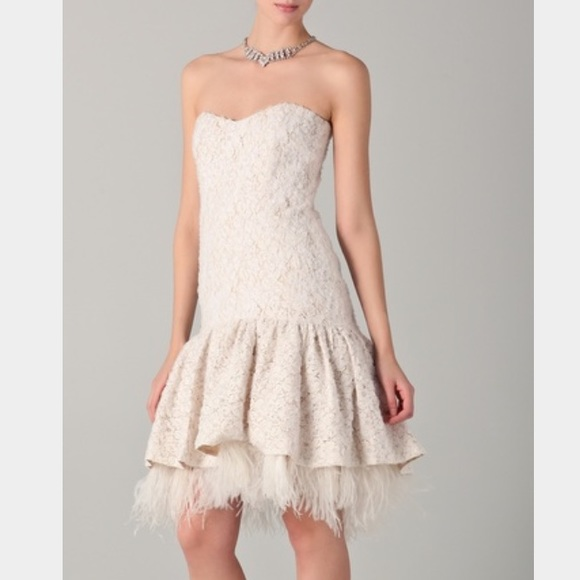 Badgley Mischka Drop Lace Ostrich Feather Dress