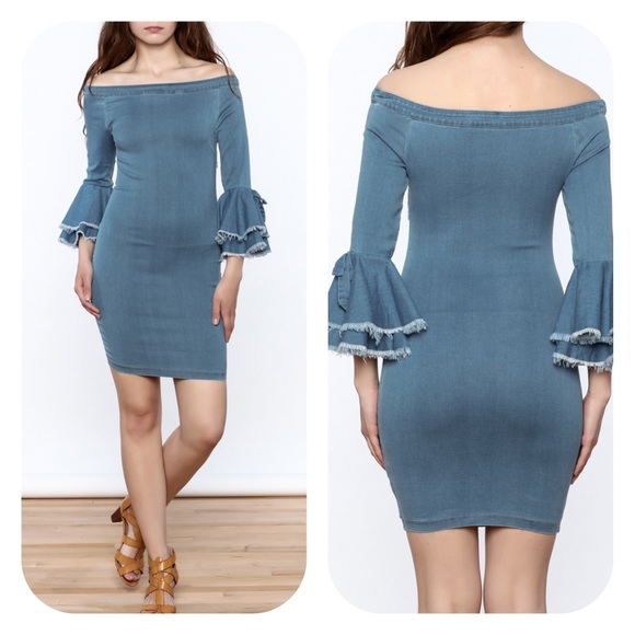 e80307454ec3 Bodycon Off Shoulder Denim Bell Sleeve Dress Small.  M 59d3dac7f0137da57b048b06