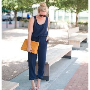 CAbi Pants - Cabi navy tie waist jumpsuit sleeveless playsuit