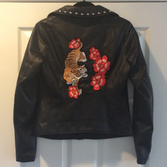 Closet Space Jackets U0026 Coats   Faux Leather Moto Jacket, Studs U0026  Embroidered Back