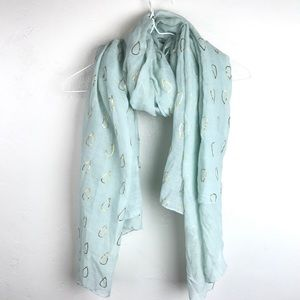 Light aqua blue and gold water drops print scarf