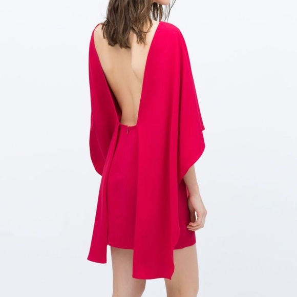 c59e169bd35 NEW Zara Red Cape Dress with open Back NWT