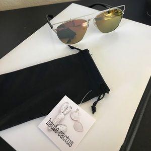 Accessories - Mirrored Aviator Style Sunglasses