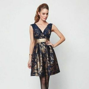 Eva Franco metallic gold and blue wool dress