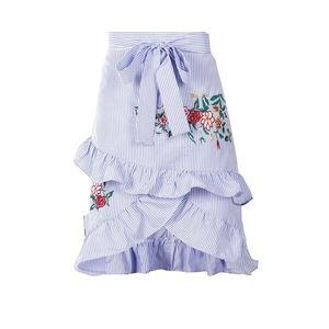 Blue striped ruffle mini skirt with embroidery