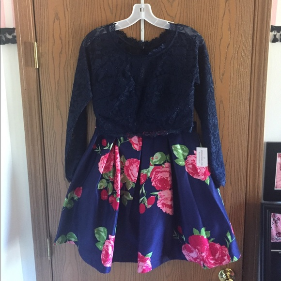 2eb5bee5d6be Windsor Dresses | Navy And Pink Floral Two Piece Dress | Poshmark