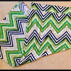 a.n.a. Green & Black Chevron Maxi Skirt, Medium