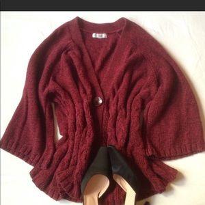 Maroon 1 button sweater