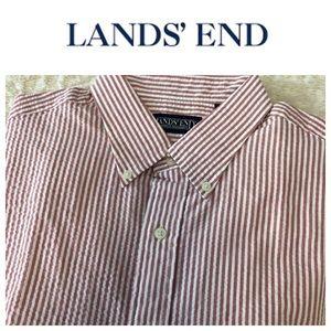 Lands End Short Sleeve Seersucker Shirt 16-16.5 L