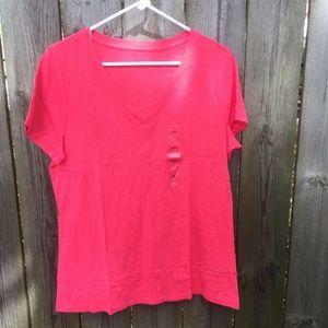 Tommy Hilfiger Pink V-Neck T-Shirt Size Large NWT