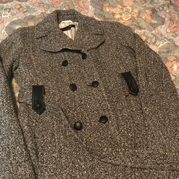 3b9ea0a59c9d1 Black Rivet Jackets   Blazers - Heather Gray Black Rivet Button Peacoat  Size 6