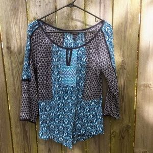 Lucky Brand Gauze Peasant Top Blue White Size M