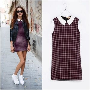 Zara Peter Pan Collar Red Checkered Dress