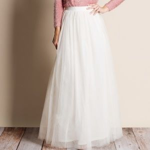 Ivory Tulle Maxi Skirt