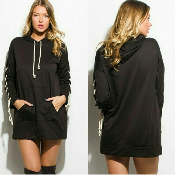 Black Lace Up Hoodie Dress Tunic Top f9448287b
