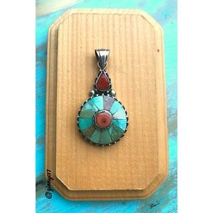 Genuine Turquoise & Coral Sterling Silver Pendant