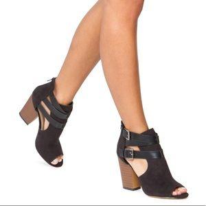 Shoe Dazzle Tonna Peep Toe Buckle Booties Black