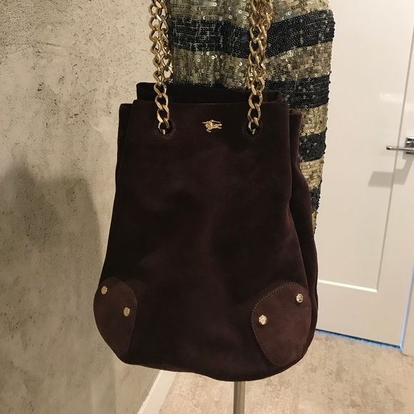 dc8ca052a7 Burberry suede bucket bag chain detail