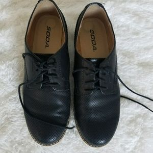 Black Laceup Loafers