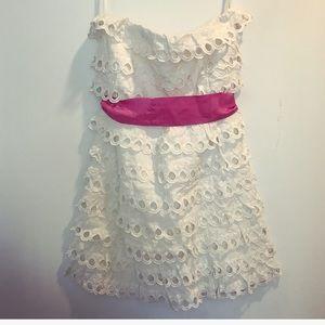 White eyelet & pink ribbon strapless mini dress