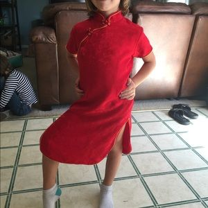 Chinese Little Girl's Dress Red Silk Like New 8