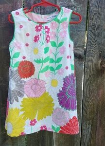 Boden Mini floral linen shift dress 3-4T