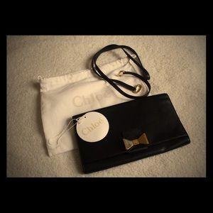 Handbags - Chloe Black Leather Bow Toe Detail Wallet