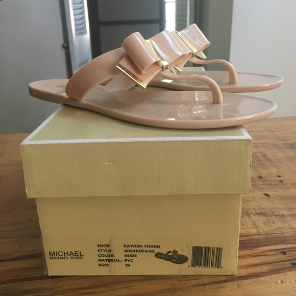 447cd08fac6 MIchael Kors Kayden jelly bow thong nude Sandals