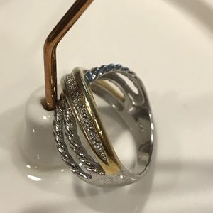 Jewelry - Sterling silver two tone ring with CZ's