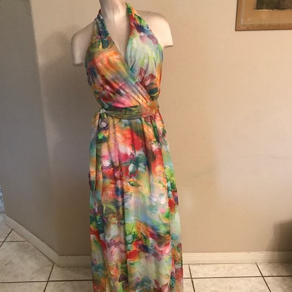 cbd1448941 Leslie Fay Floral-Print Chiffon Maxi Dress