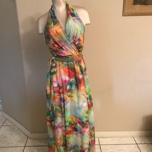 Leslie Fay Floral-Print Chiffon Maxi Dress