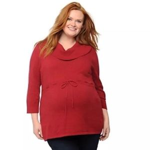 Oh Baby Motherhood Plus 1X Maternity Red Cowlneck