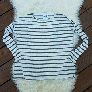 ONE TEASPOON Stripe LS Sweater Black White