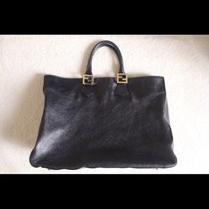 Handbags - Fendi Calfskin Large Tote Dark Blue