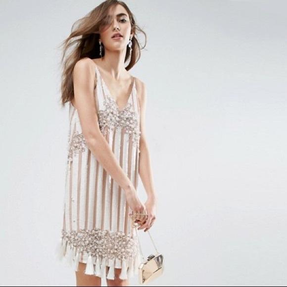 dc2ad1af4a ASOS GOLD Embellished Tassel Mini Dress Size 2