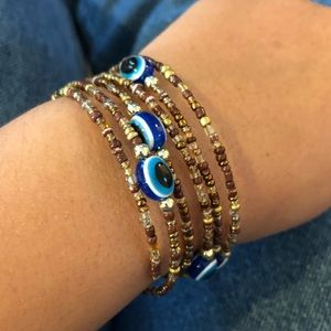 UO Evil Eye Wrap Around Beaded Bracelet