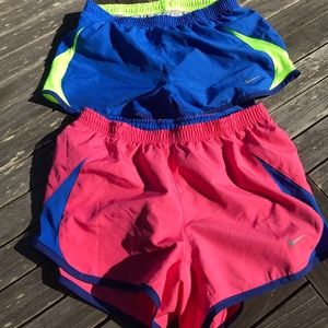 Two Pairs Nike Running Shorts XS Blue Pink Lined