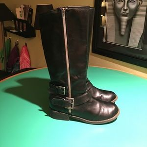 Justice Black Buckled Zippered High Boots. S6