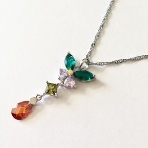 Jewelry - Multicolored Gem Butterfly Drop Pendant Necklace