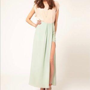 mint high slit maxi skirt