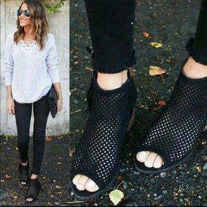 Shoes - 1 left!!! NATALIA Perforated Peep Toe Block Heel