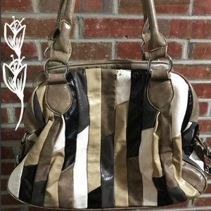 Nicole lee overnight handbag purse tan black bag