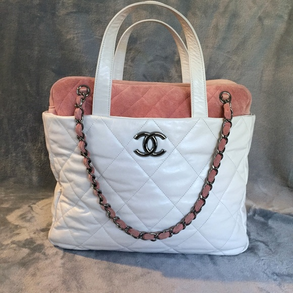 addc8bf0326b CHANEL Bags | White Quilted Leather Pink Suede Tote Bag | Poshmark
