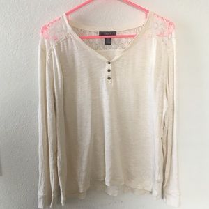 Chaps Creams Long Sleeve and Lace Shirt