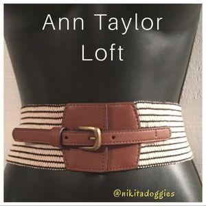Ann Taylor Loft-Beige / Black Stripe Stretch Belt